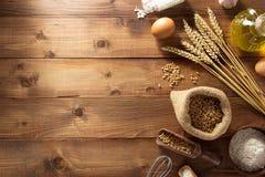 Piekarnia produkty na drewnie fotografia stock