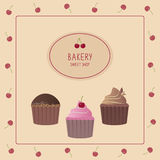 Piekarnia projekta szablon Śliczna karta z babeczkami Zdjęcie Royalty Free