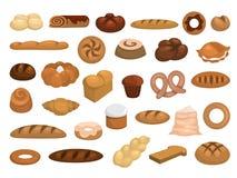 Piekarnia set Kolekcja świeży chleb, croissant ilustracja wektor