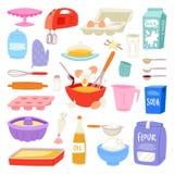 Piekarnia składniki wektorowy jedzenie i kitchenware dla piec torta set jajka dla ciasto ilustraci mąka i mleko royalty ilustracja