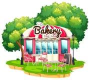 Piekarnia sklep z łomotać stoły ilustracja wektor
