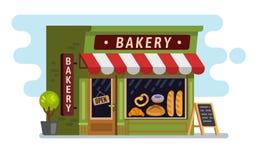 Piekarnia sklepu dom Kawiarnia, buduje ilustracji