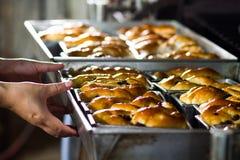 Piekarnia szefa kuchni ciągnięcia chlebowa taca od piekarnika zdjęcie royalty free