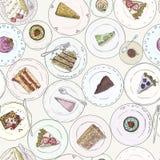 Piekarnia, torty, ciasto liniowy bezszwowy wzór Słodki elementu tło Ręka rysujący tło deser na talerzu Fotografia Stock