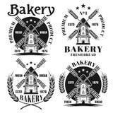 Piekarnia ustawiająca cztery wektorowego emblemata z wiatraczkiem ilustracja wektor