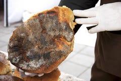 Piekarnianego mężczyzna mienia nieociosany organicznie bochenek chleb w rękach obraz stock