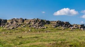 Piekdistrictslandschap bij Stanage-Rand, Derbyshire, Engeland, het UK royalty-vrije stock foto
