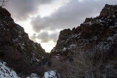 Pieken langs de sleep van de rotscanion in Provo, Utah stock fotografie