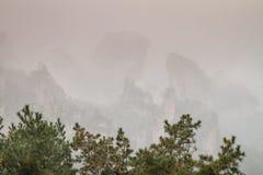 Pieken in mist in Zhangjiajie royalty-vrije stock afbeeldingen