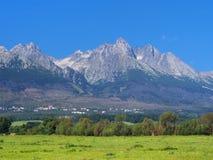 Pieken van Hoge Tatras en weide Royalty-vrije Stock Foto