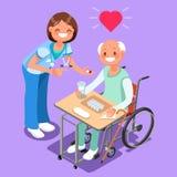 Pielęgniarka z pacjentem w Szpitalnych Isometric ludziach kreskówka wektoru ilustracji