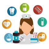 Pielęgniarka z sprzętem medycznym ilustracji
