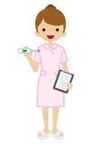 Pielęgniarki mienia termometr - Młodzi dorosli royalty ilustracja