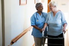 Pielęgnuje pomagać pacjenta w odprowadzeniu z piechurem przy emerytura domem zdjęcie royalty free