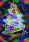 Piel-árbol celebrador del Año Nuevo con una guirnalda Imagen de archivo libre de regalías