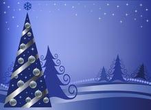 Piel-árbol de la Navidad con las esferas de plata Imagenes de archivo