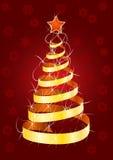 Piel-árbol de la Navidad en fondo rojo Imagen de archivo libre de regalías