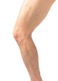 Piel de los hombres de la pierna del primer y melenudo con el fondo blanco, coche de la salud fotografía de archivo