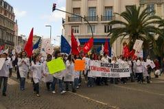 pielęgniarek Portugal strajk Fotografia Royalty Free