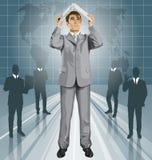 Pieles del hombre de negocios del vector debajo del ordenador portátil stock de ilustración