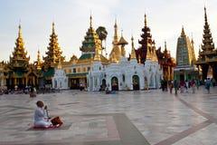 Pielgrzym w Shwedagon pagodzie, Birma Fotografia Stock