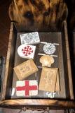 Pielgrzymi artykuły w kościół święty John genua Pre wewnątrz, Liguria, Włochy, Europa obrazy royalty free