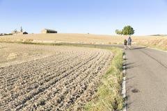 Pielgrzymi chodzi wiejską drogę Fotografia Stock