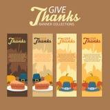 Pielgrzymi dziękczynienia świętowania stojaka sztandary Inkasowi Z ornamentem i Foods ilustracji