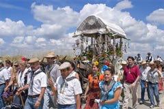 Pielgrzymi na ich sposobie pielgrzymka kościół El Rocio Obrazy Stock