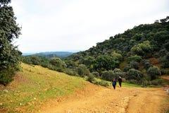 Pielgrzymi w Mozarabic Camino de Santiago, Cerro Muriano, cordoba, Hiszpania Zdjęcie Royalty Free