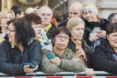 Pielgrzymi witają Jego Holiness Pope Francis Obrazy Royalty Free