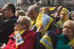 Pielgrzymi witają Jego Holiness Pope Francis Zdjęcie Royalty Free