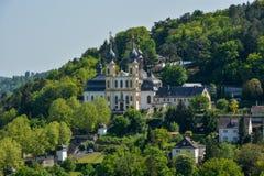 Pielgrzymka kościelny Kaeppele na wzgórzu w Wuerzburg na pogodnym zdjęcia royalty free