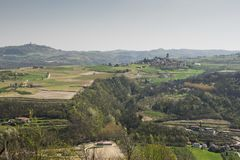 Piemonte vineyards and hills in spring, Italy Stock Photography