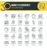 Pieniądze i waluty konturu ikony royalty ilustracja