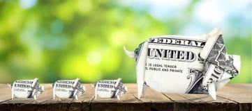 4 pieniądze świni fotografia royalty free