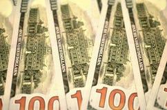 Pieniądze amerykanina sto tekstury notatek projekt koncepcja finansowego Pieniężne operacje obrazy stock