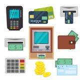Pieniądze, ATM - gotówkowej maszyny ikony ustawiać Obrazy Royalty Free