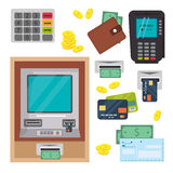Pieniądze atm - gotówkowej maszyny wektorowe ikony ustawiać Obrazy Royalty Free