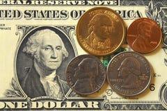 Pieniądze, banknot, rachunki, USD, euro, monety, cent, grosz, ćwiartka fotografia stock