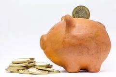pieniądze banku świnki oszczędności Fotografia Stock