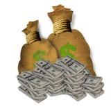 Pieniądze Burlap Torby royalty ilustracja