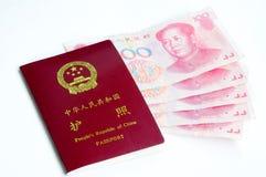 pieniądze chiński paszport Zdjęcia Royalty Free