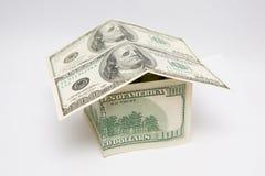Pieniądze dom, 100 amerykańskich dolarów Zdjęcia Stock