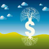 Pieniądze drzewna Wektorowa ilustracja z dolarowym znakiem Fotografia Royalty Free