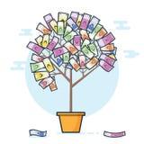 Pieniądze drzewo w euro Euro banknotu pieniądze drzewo Pieniądze narastający pojęcie Fotografia Stock