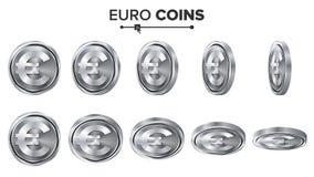 pieniądze Euro 3D Srebnych monet wektoru set realistyczna ballons ilustracja Trzepnięcie Różni kąty Pieniądze Frontowa strona Inw Obraz Royalty Free