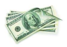 Pieniądze gotówka odizolowywająca na bielu. Zdjęcie Royalty Free