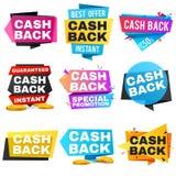 Pieniądze gotówki z powrotem wektoru etykietki i majchery ustawiający ilustracja wektor