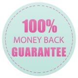 100% pieniądze gwarancji, RÓŻOWYCH I ZIELONYCH kolorów ikona TYLNA, PRZYLEPIA ETYKIETKĘ ilustrację ilustracji